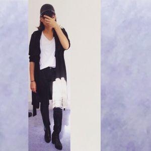 FOREVER 21 Black Long Light Trench Style Coat